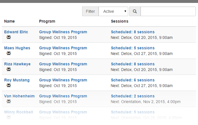 Wellness program clients screenshot